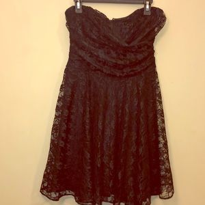 Strapless Black Lace Dress.